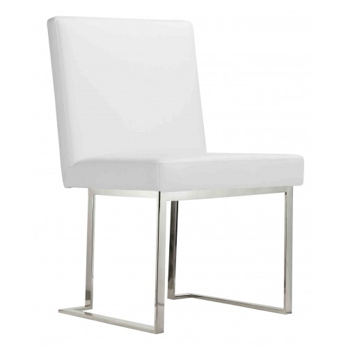 Dexter Side Chair Silver/White PU
