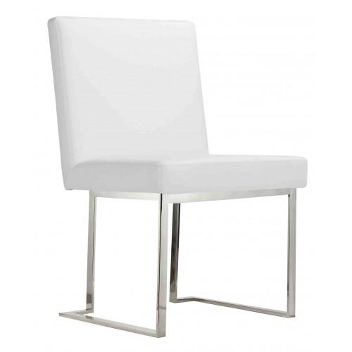 Dexter Side Chair Silver/White PU