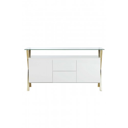 Gold Beverly Buffet White