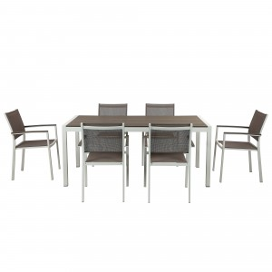 David 7 Piece Dining Set, White Frame & Grey Top