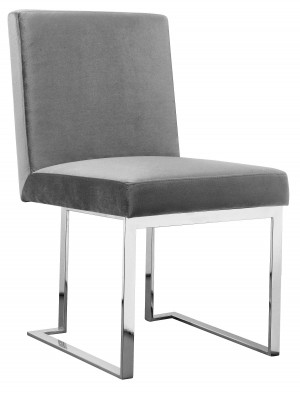Dexter Side Chair Silver/Silver Velvet