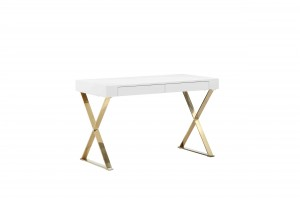 Gold Alexa Desk White