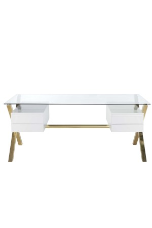 Gold Beverly Desk Large White