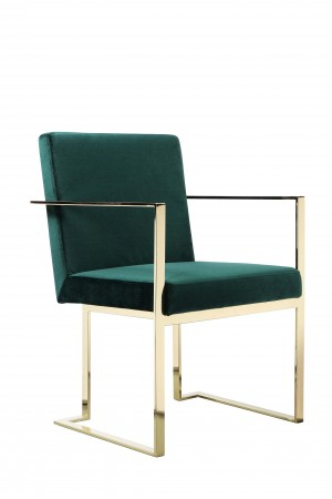 Gold Dexter Arm Chair Velvet Green