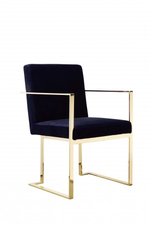 Gold Dexter Arm Chair Velvet Navy
