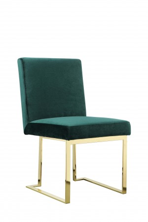 Gold Dexter Side Chair Velvet Green