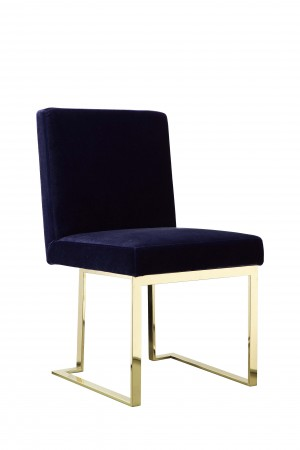 Gold Dexter Side Chair Velvet Navy