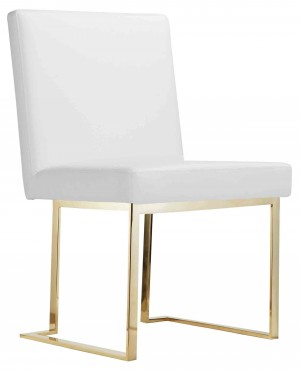 Dexter Side Chair Gold/White PU