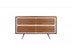 Hal 4-Drawer Dresser White & Walnut