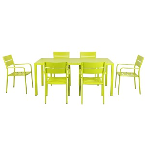Miami 7 Piece Dining Set Green