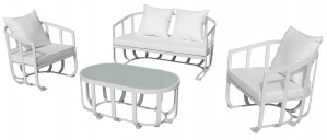 Naples 4 Piece Sofa Set White
