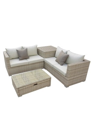 Oasis 4 Piece Sectional + Storage Box Brow