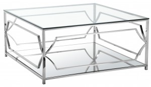 Edward Square Coffee Table High Polish Steel