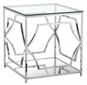 Edward Square Side Table High Polish Steel