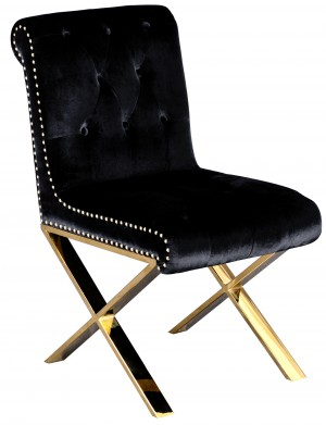 Gold Claire Dining Chair Black Velvet
