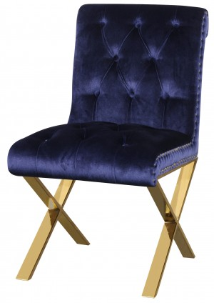 Gold Claire Dining Chair Navy Velvet