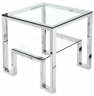 Laurence Side Table High Polish Steel