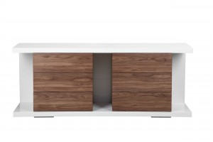 Thite Buffet White Lacquer and Walnut Veneer Combo