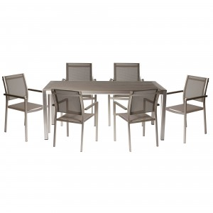 David 7 Piece Dining Set Grey
