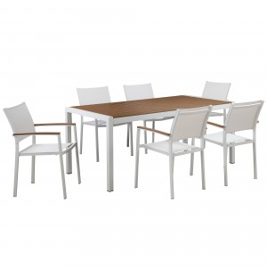 David 7 Piece Dining Set, White Frame & Teak Top