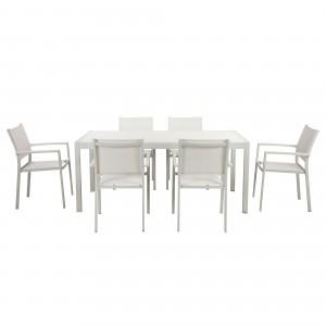 David 7 Piece Dining Set, White Frame