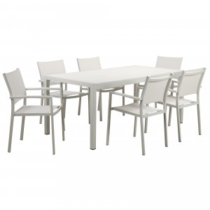 David 7 Piece Dining Set, White Frame & White Top