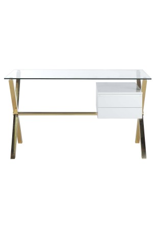 Gold Beverly Desk Small White