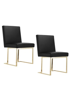 Gold Dexter Side Chair Faux Leather Black