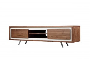 Hal Large TV Stand White & Walnut Combo