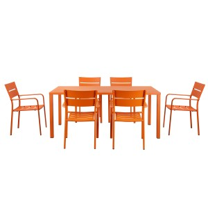 Miami 7 Piece Dining Set Orange