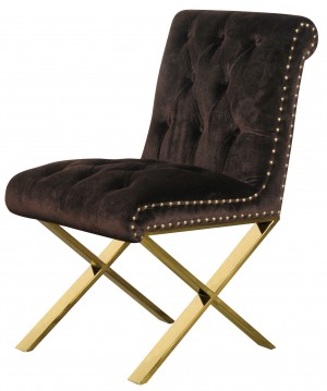 Gold Claire Dining Chair Chocolate Velvet